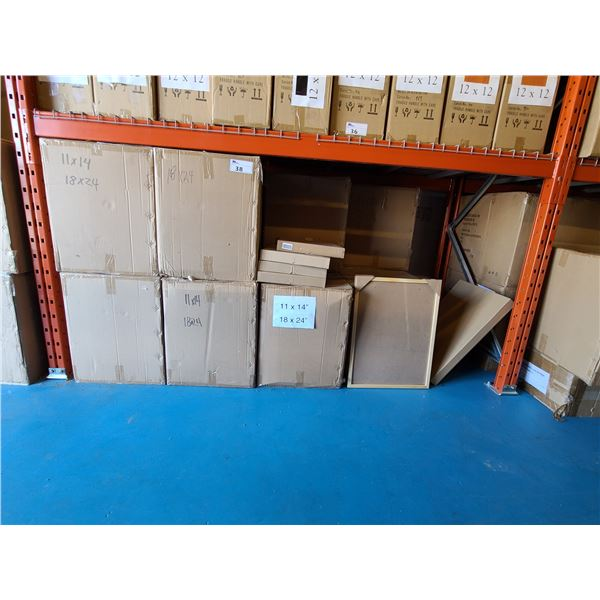 BAY OF APPROXIMATELY 14 LARGE BOXES OF 11 X 14 / 18 X 24 ASSORTED NATURAL NEW ZEALAND PINE