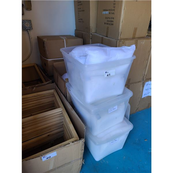 3 LARGE BOXES & 3 BINS OF ASSORTED SIZED DECORATIVE PILLOW INSERTS