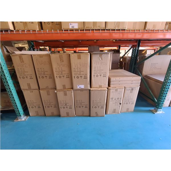 BAY OF APPROXIMATELY 39 BOXES OF 18 X 24 ASSORTED NATURAL, WHITE, NEW ZEALAND PINE