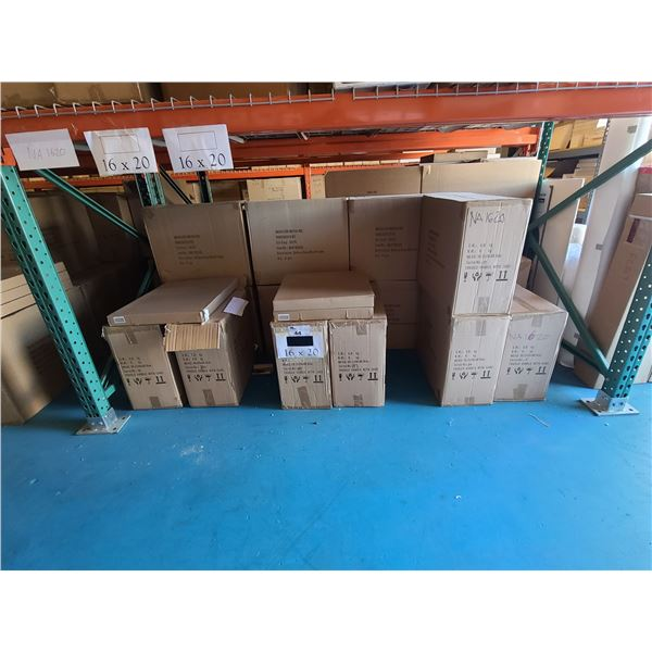 BAY OF APPROXIMATELY 14 BOXES OF 16 X 20 ASSORTED NATURAL, BLACK NEW ZEALAND PINE