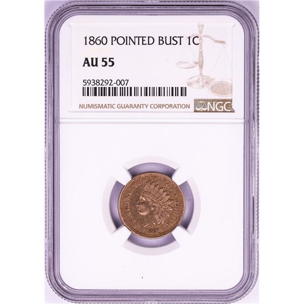 1860 Pointed Bust Indian Head Cent Coin NGC AU55