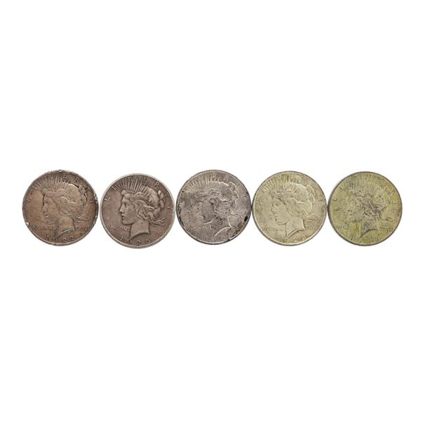 Lot of (5) $1 Peace Silver Dollar Coins