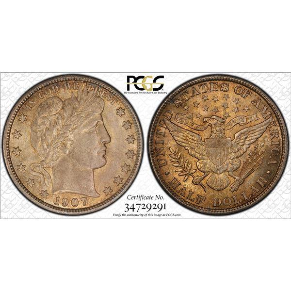 1907 Barber Half Dollar Coin PCGS MS64