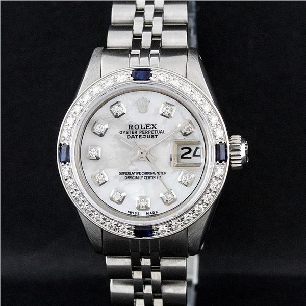 Rolex Ladies Stainless Steel Mother Of Pearl Diamond & Sapphire Datejust Wristwatch
