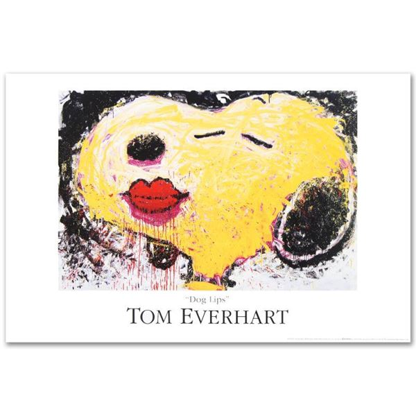 """Tom Everhart """"Dog Lips"""" Lithograph on Paper"""