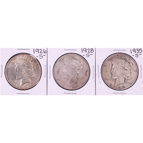 Lot of 1926-S, 1928-S, 1935-S $1 Peace Silver Dollar Coins