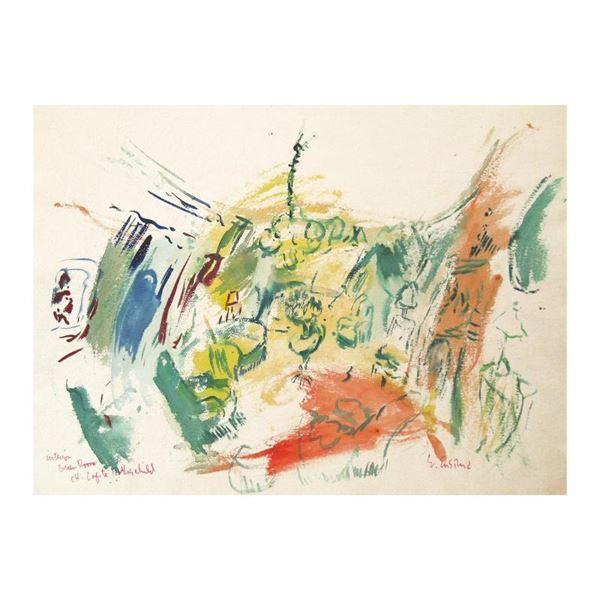 "Ensrud ""Green Salon of Chateau Lafite Rothschild"" Original Watercolor on Paper"