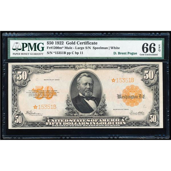 Finest Known 1922 $50 Gold Certificate STAR Note Fr.1200m* PMG Gem Uncirculated 66EPQ