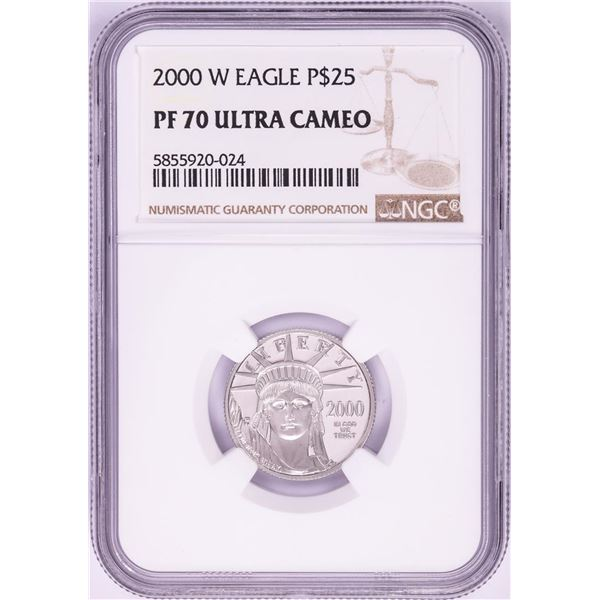 2000-W $25 Proof American Platinum Eagle Coin PCGS PF70 Ultra Cameo