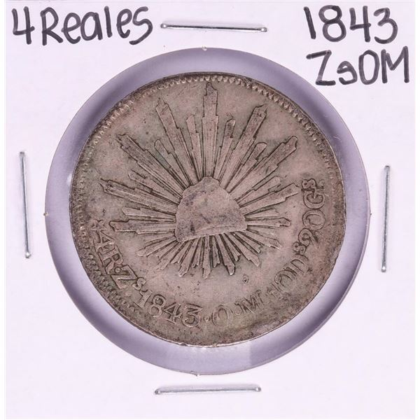 1843 ZsOM Mexico 4 Reales Silver Coin