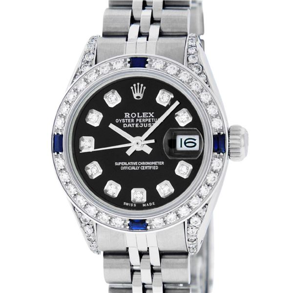Rolex Ladies Stainless Steel Black Diamond & Sapphire Datejust