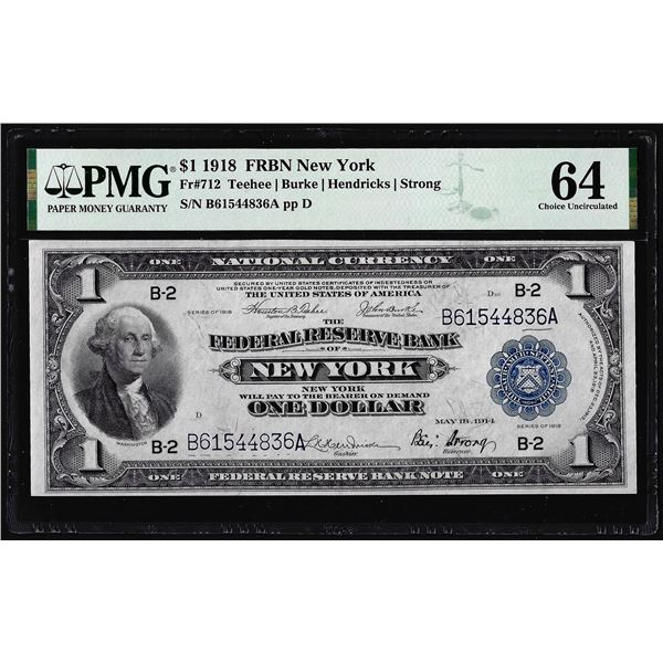 1918 $1 Federal Reserve Bank Note New York Fr.712 PMG Choice Uncirculated 64