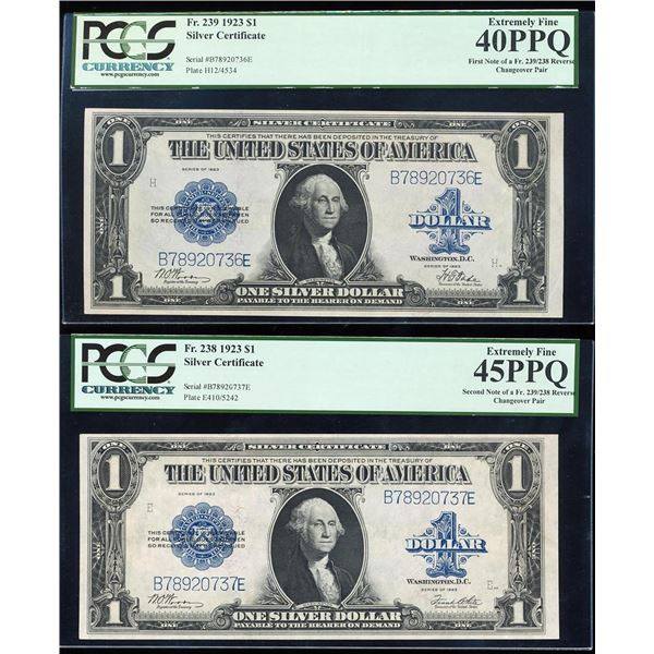 Changeover Pair of 1923 $1 Silver Certificate Notes PCGS Extremely Fine 40PPQ/45PPQ