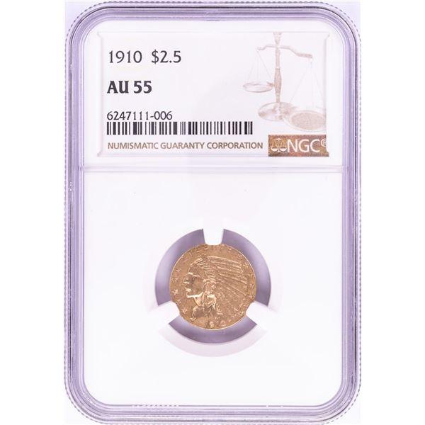 1910 $2 1/2 Indian Head Quarter Eagle Gold Coin NGC AU55