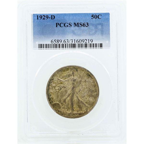1929-D Walking Liberty Half Dollar Coin PCGS MS63