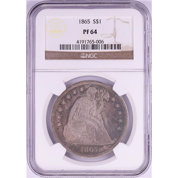 1865 $1 Proof Seated Liberty Silver Dollar Coin NGC PF64