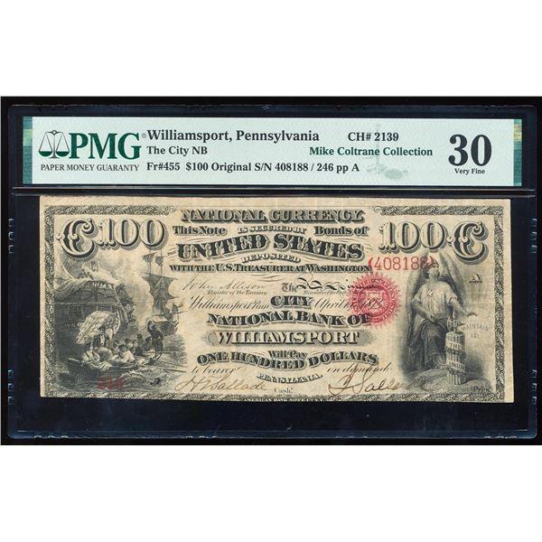 Original Series $100 NB of Williamsport, PA CH# 2139 National Note PMG Very Fine 30