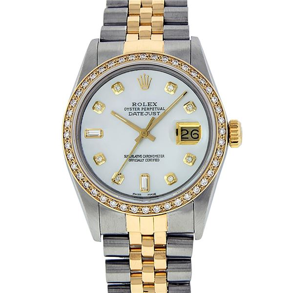 Rolex Men's Two Tone Mother Of Pearl Diamond Oyster Perpetual Datejust Wristwatch