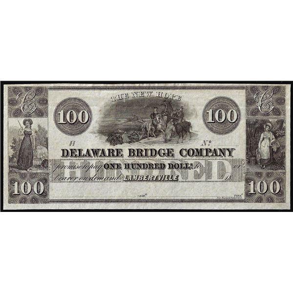 1800's $100 Delaware Bridge Lambertville, N.J.  Obsolete Banknote