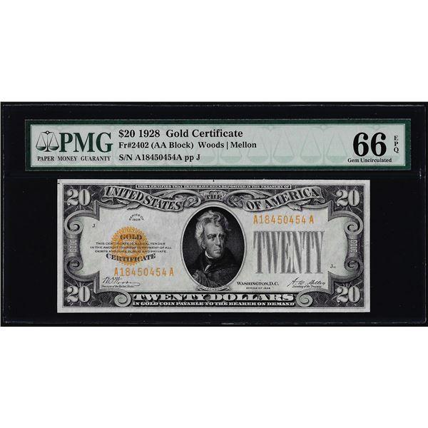 1928 $20 Gold Certificate Note Fr.2402 PMG Gem Uncirculated 66EPQ