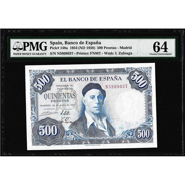 1950's Spain Banco de Espana 500 Pesetas Note Pick# 148a PMG Choice Uncirculated 64