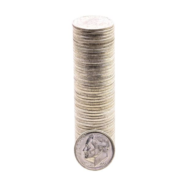Roll of (50) Brilliant Uncirculated 1963 Roosevelt Dimes