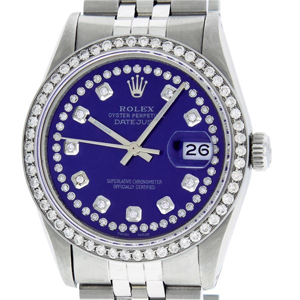 Rolex Men's Stainless Steel Blue String Diamond Oyster Perpetual Datejust Wristwatch