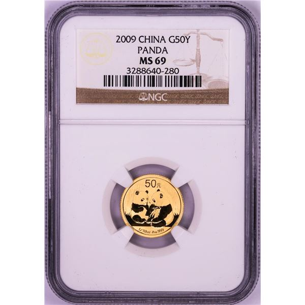 2009 China 50 Yuan Panda 1/10 oz. Gold Coin NGC MS69