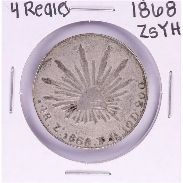 1868 ZsYH Mexico 4 Reales Silver Coin