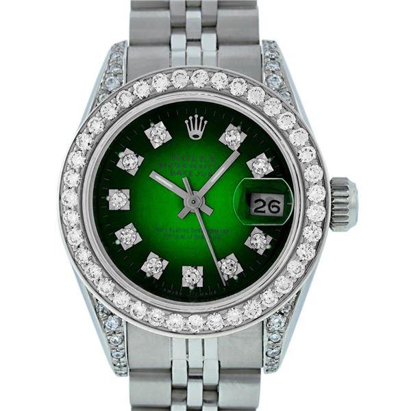 Rolex Ladies Stainless Steel Green Vignette Diamond & Datejust Wristwatch