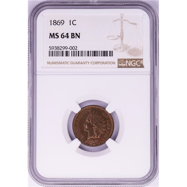 1869 Indian Head Cent Coin NGC MS64 BN