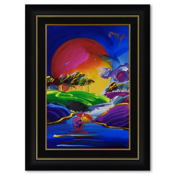 """Peter Max """"Without Borders II"""" Original Mixed Media on Paper"""