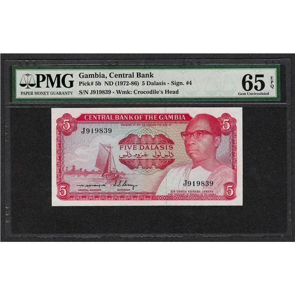 1972-86 Central Bank Gambia 5 Dalasis Note Pick# 5b PMG Gem Uncirculated 65EPQ