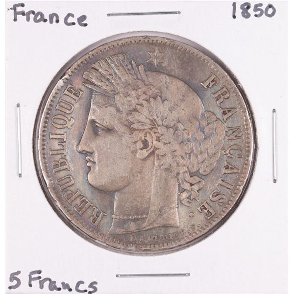 1850 France 5 Francs Silver Coin