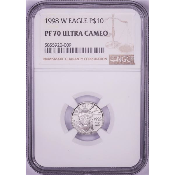 1998-W $10 Proof American Platinum Eagle Coin NGC PF70 Ultra Cameo