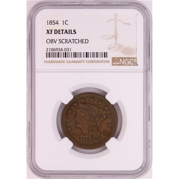 1854 Braided Hair Large Cent Coin NGC XF Details