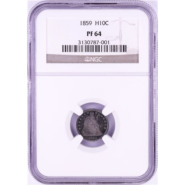 1859 Proof Seated Liberty Half Dime Coin NGC PF64