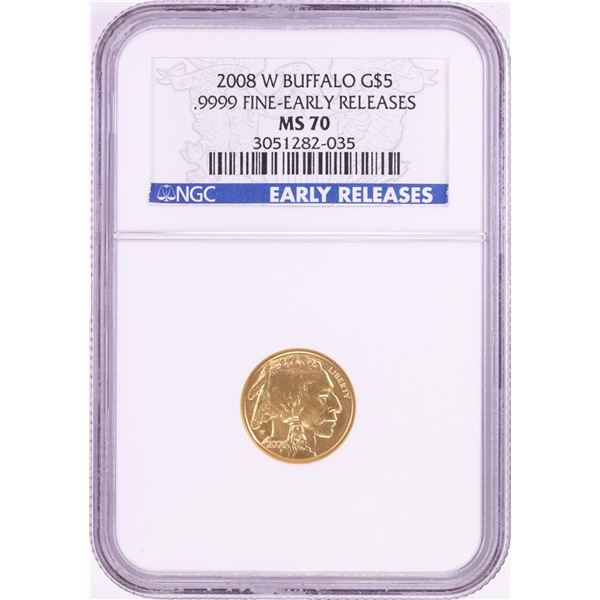 2008-W $5 American Buffalo Gold Coin NGC MS70 Early Releases