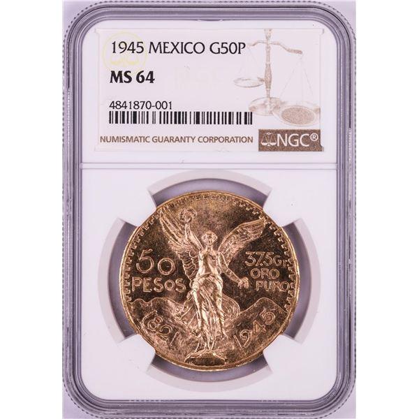 1945 Mexico 50 Pesos Gold Coin NGC MS64