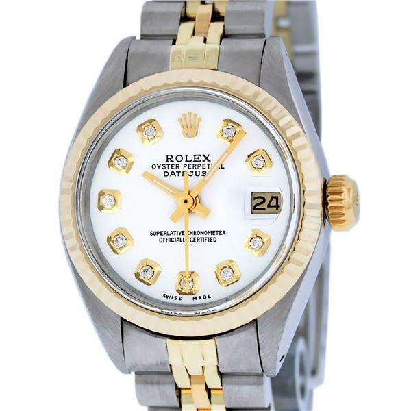 Rolex Ladies Two Tone White Diamond Oyster Perpetual Datejust Wristwatch