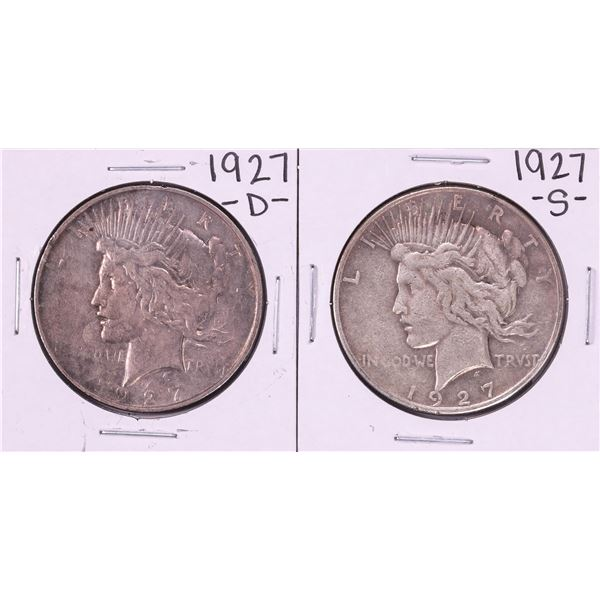 Lot of 1927-D & 1927-S $1 Peace Silver Dollar Coins