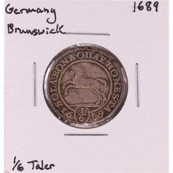 1689 Germany Brunswick 1/6 Taler Coin