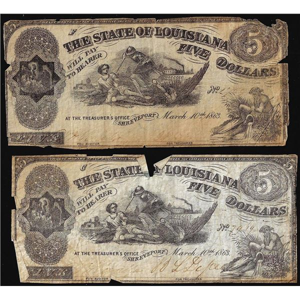 Lot of (2) 1863 $5 The State of Louisiana Baton Rouge, LA Obsolete Banknotes