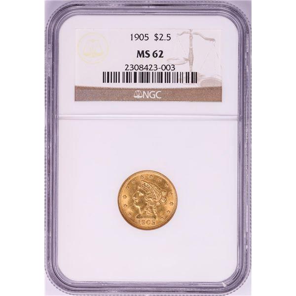 1905 $2 1/2 Liberty Head Quarter Eagle Gold Coin NGC MS62
