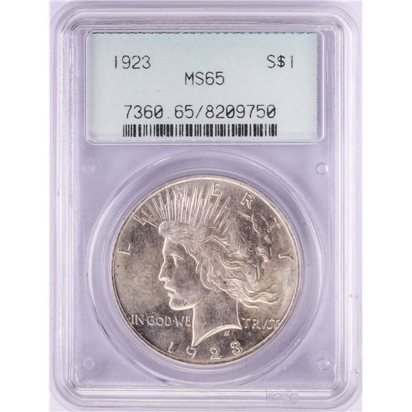 1923 $1 Peace Silver Dollar Coin PCGS MS65 Old Green Holder