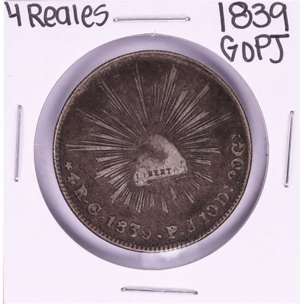 1839 GoPJ Mexico 4 Reales Silver Coin