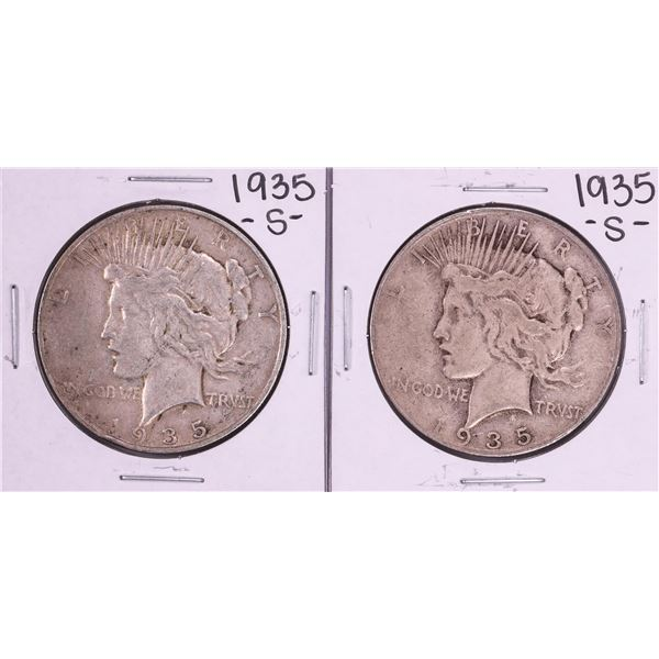 Lot of (2) 1935-S $1 Peace Silver Dollar Coins