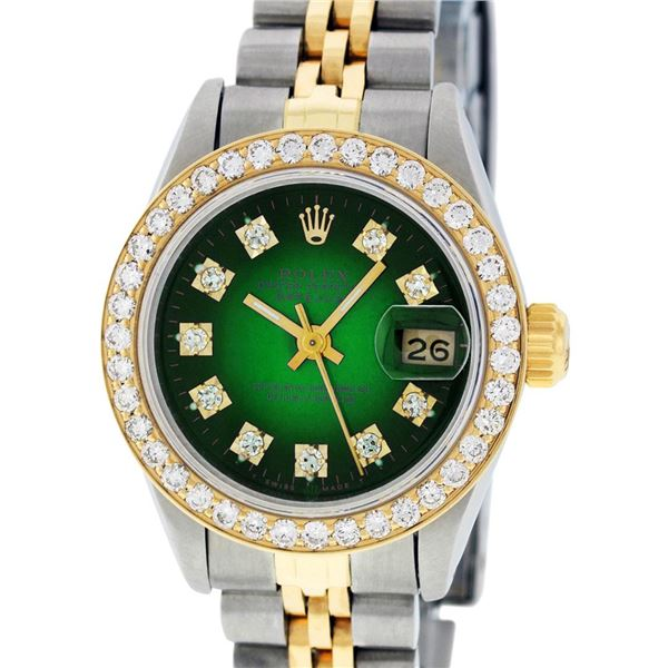 Rolex Ladies Two Tone Green Vignette Diamond Oyster Perpetual Datejust Wristwatch