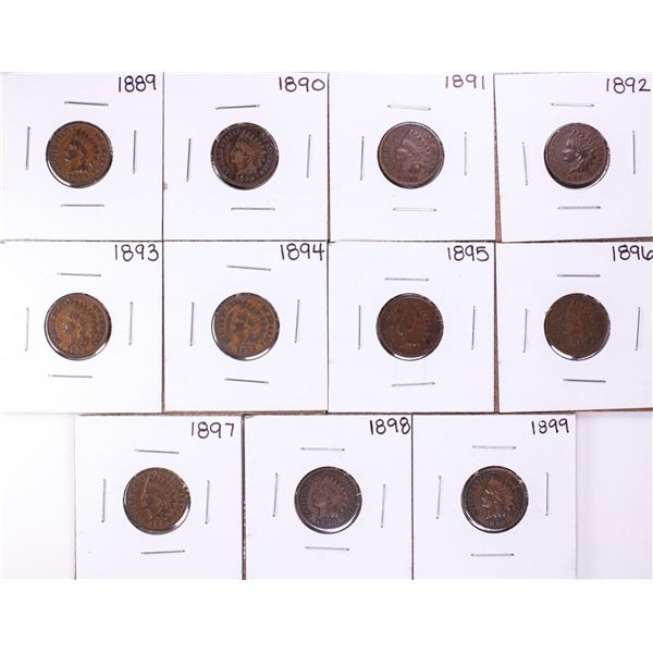 Set of 1889-1899 Indian Head Cent Coins