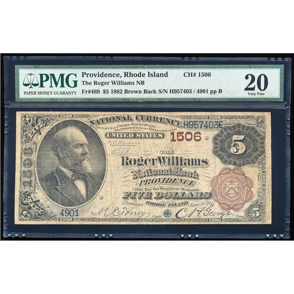 1882BB $5 Roger Williams NB Providence, RI CH# 1506 National Note PMG Very Fine 20